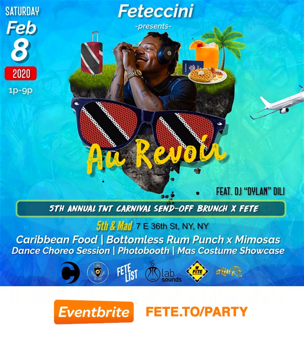 Au Revoir: Brunch + Fete Carnival Send-Off  flyer or graphic.