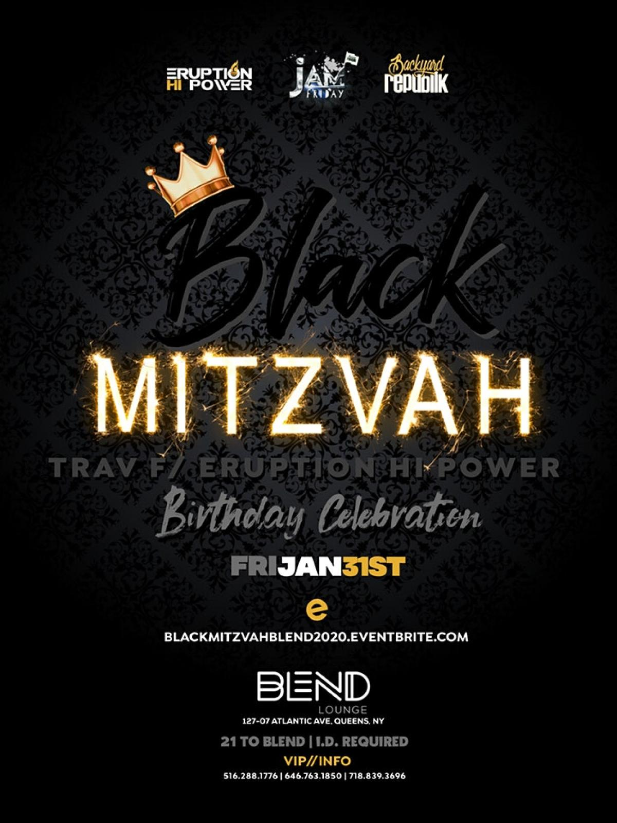 Black Mitzvah flyer or graphic.