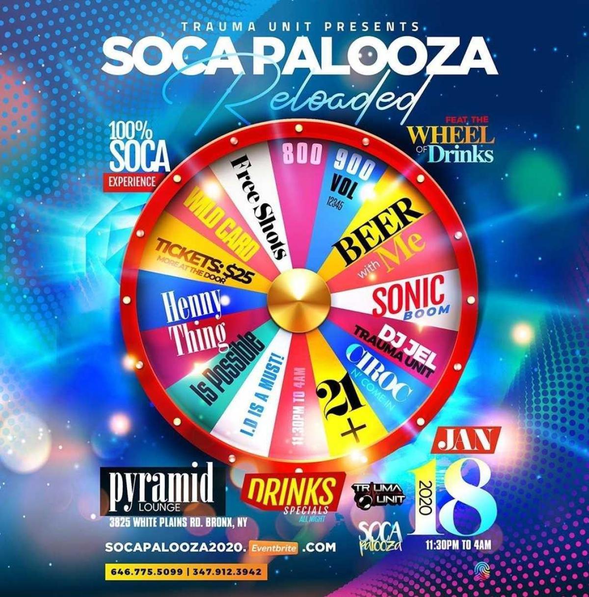 Soca Palooza flyer or graphic.