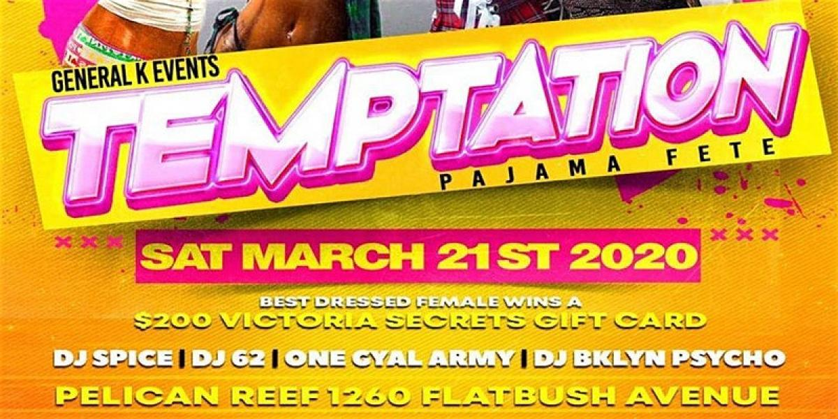 Temptation: Pajama Fete flyer or graphic.