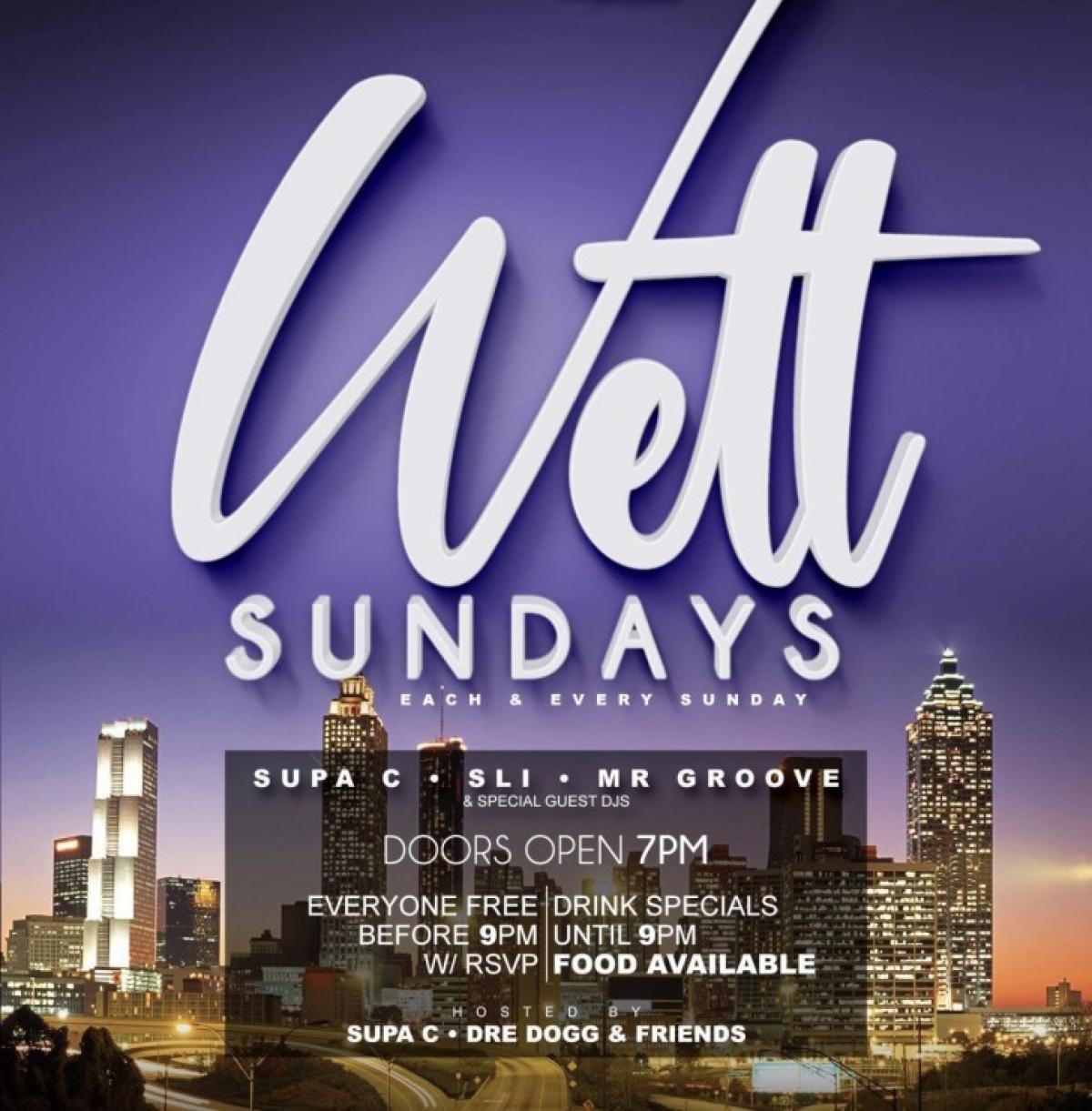 Wett Sundays flyer or graphic.