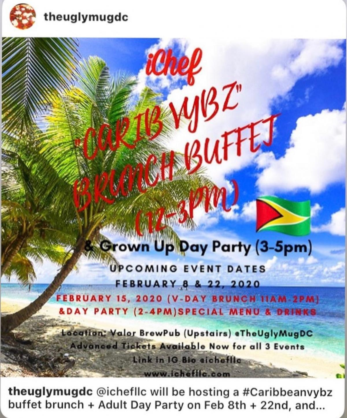 Carib Vybz Brunch Buffet and Grown-Up Day Party flyer or graphic.