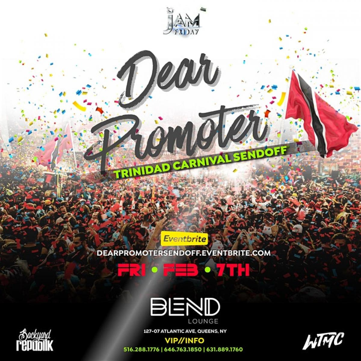 'Dear Promoters' Trinidad Carnival Sendoff flyer or graphic.