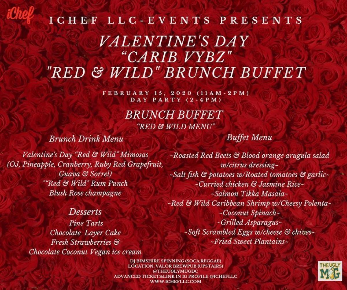 "Valentine's Day ""Carib Vybz"" ""Red & Wild"" Brunch Buffet flyer or graphic."