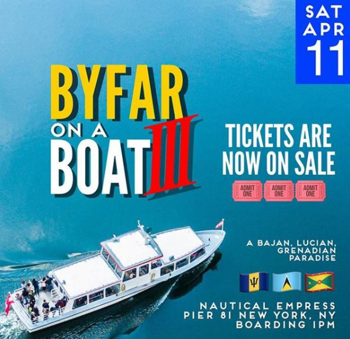 By Far on a Boat 3 flyer or graphic.