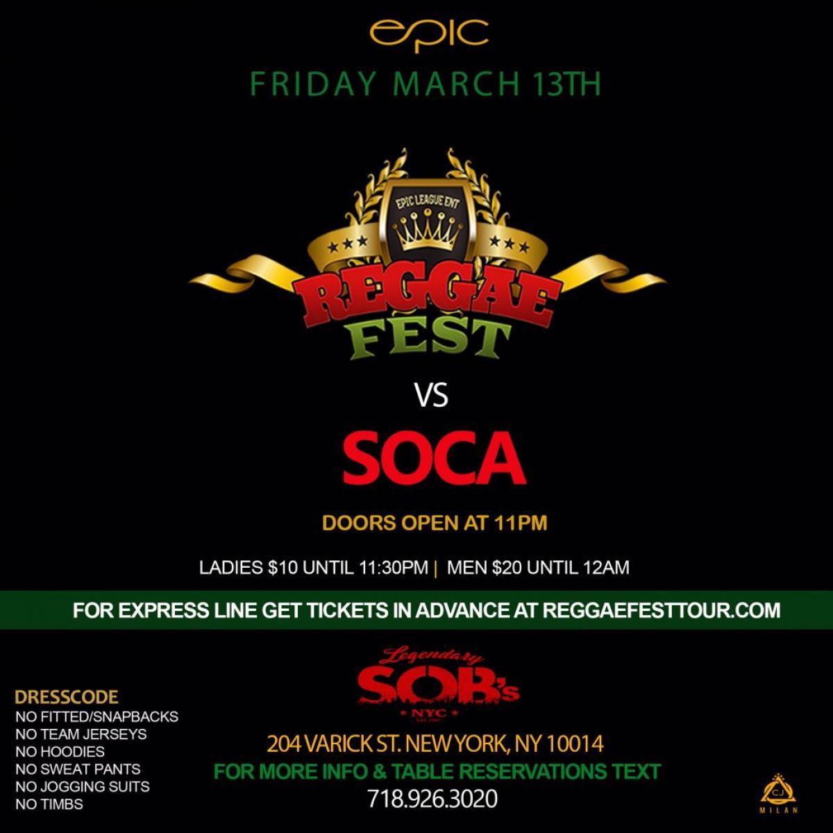 Reggae Fest Vs Soca flyer or graphic.