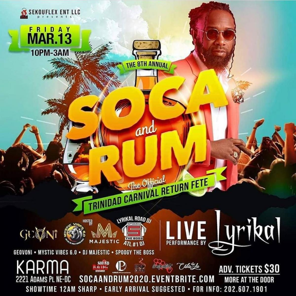 Soca and Rum: The Official Carnival Return Fete flyer or graphic.