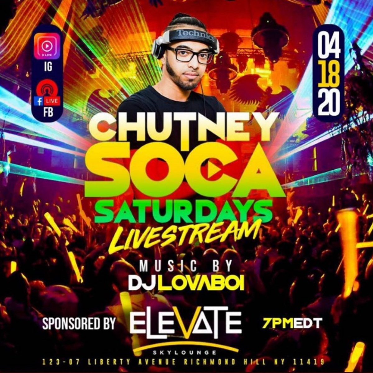 Chutney Soca Saturdays Live Stream flyer or graphic.