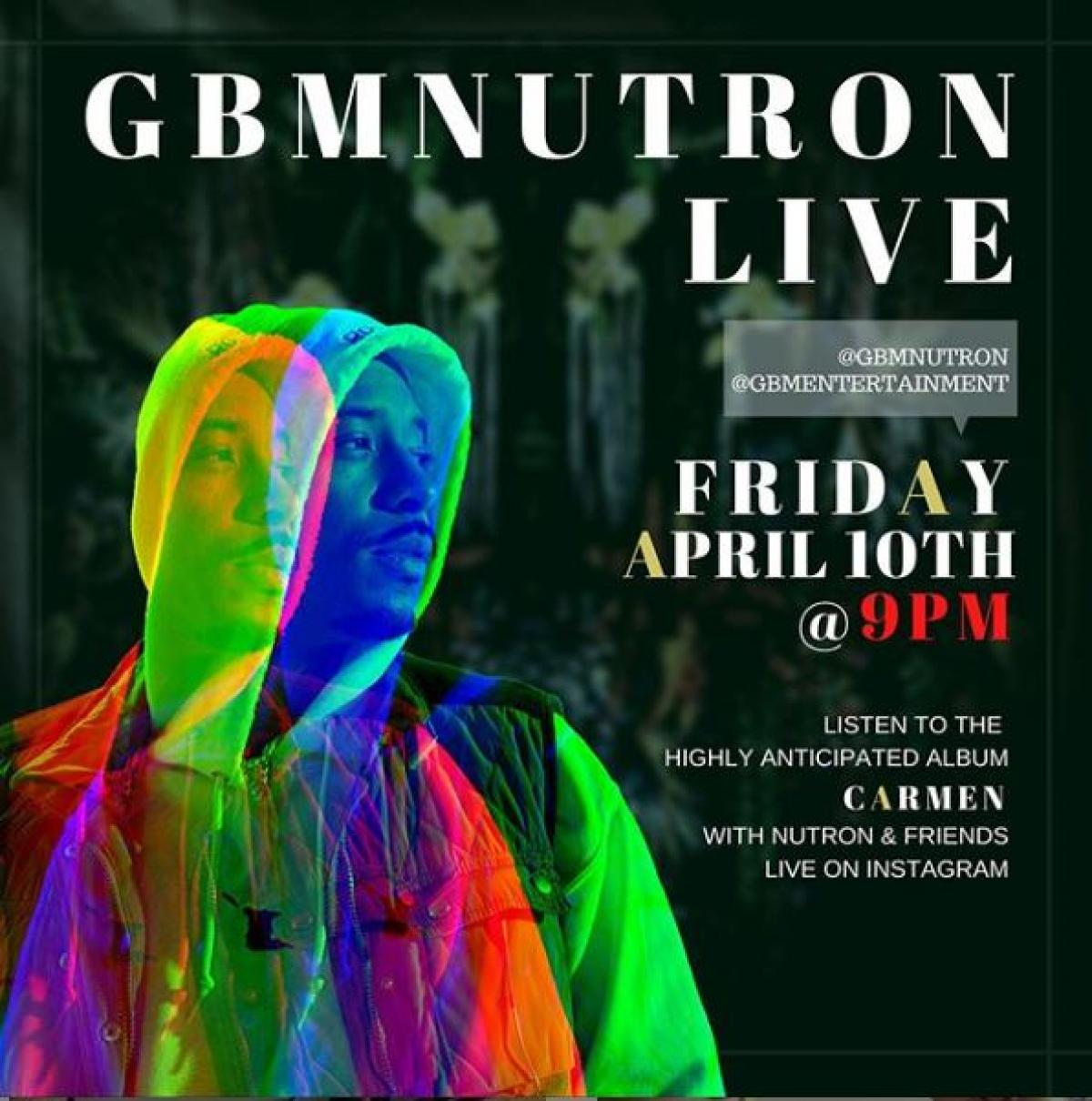GBM Nutron Live flyer or graphic.