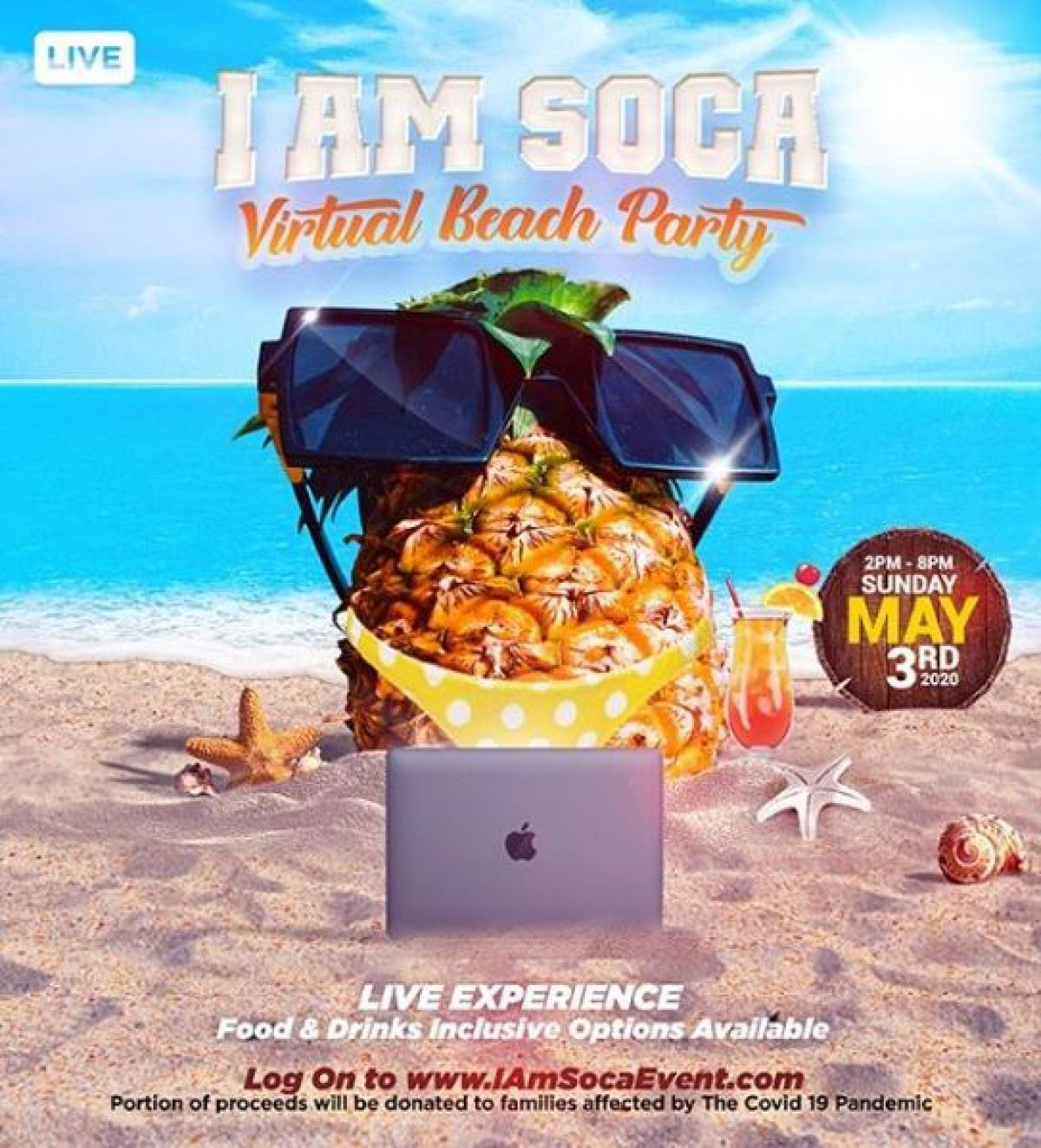I Am Soca Virtual Beach Party flyer or graphic.