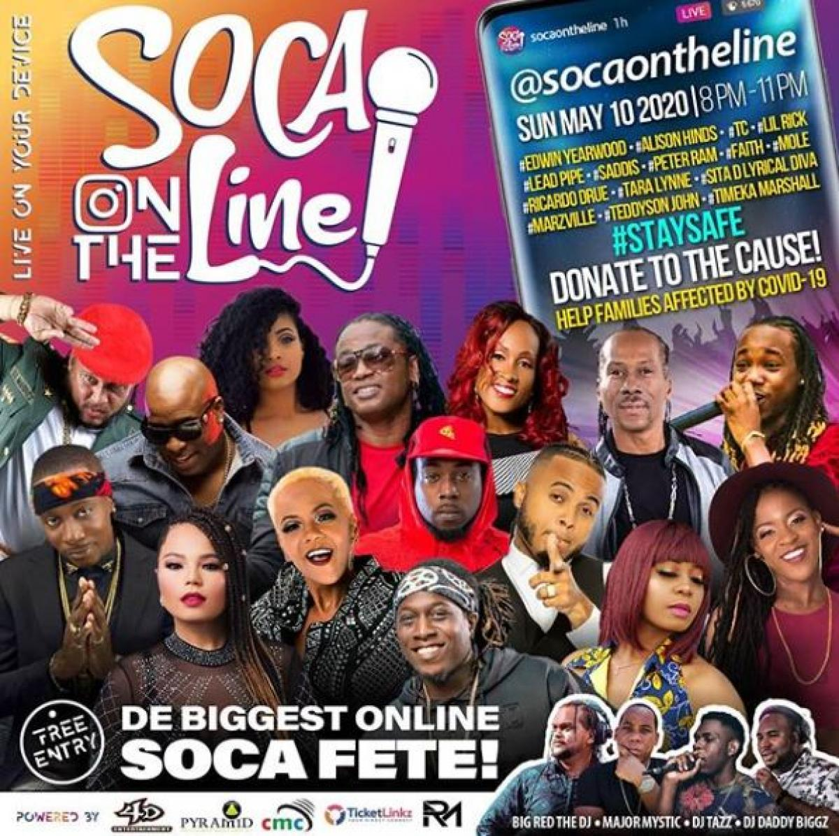 Soca On The Line flyer or graphic.