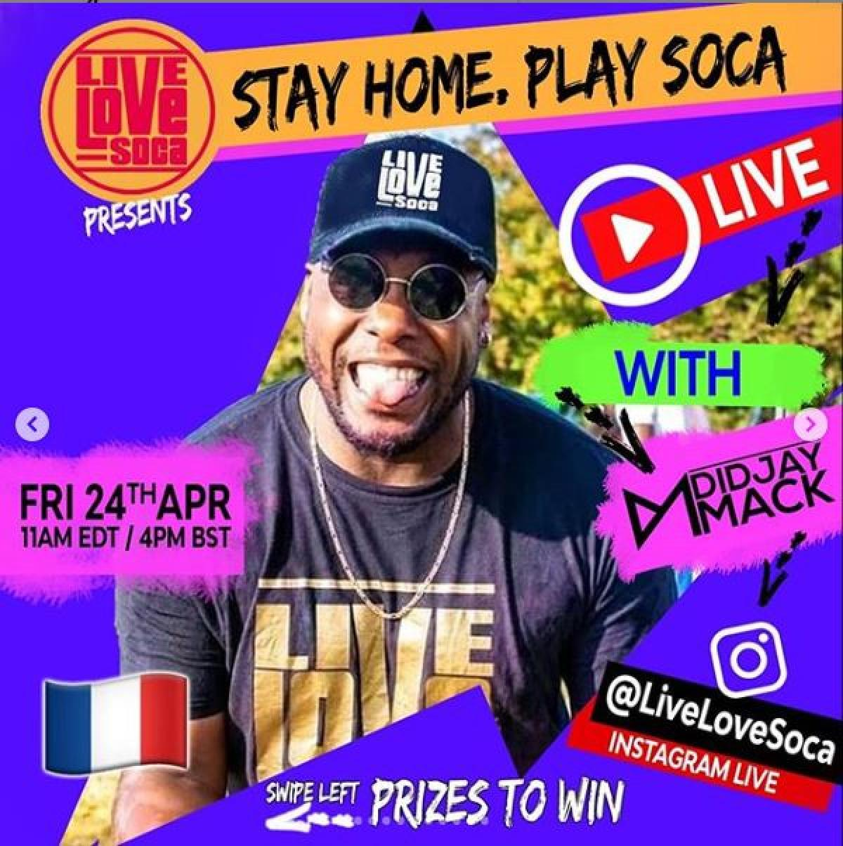 Stay Home, Play Soca flyer or graphic.