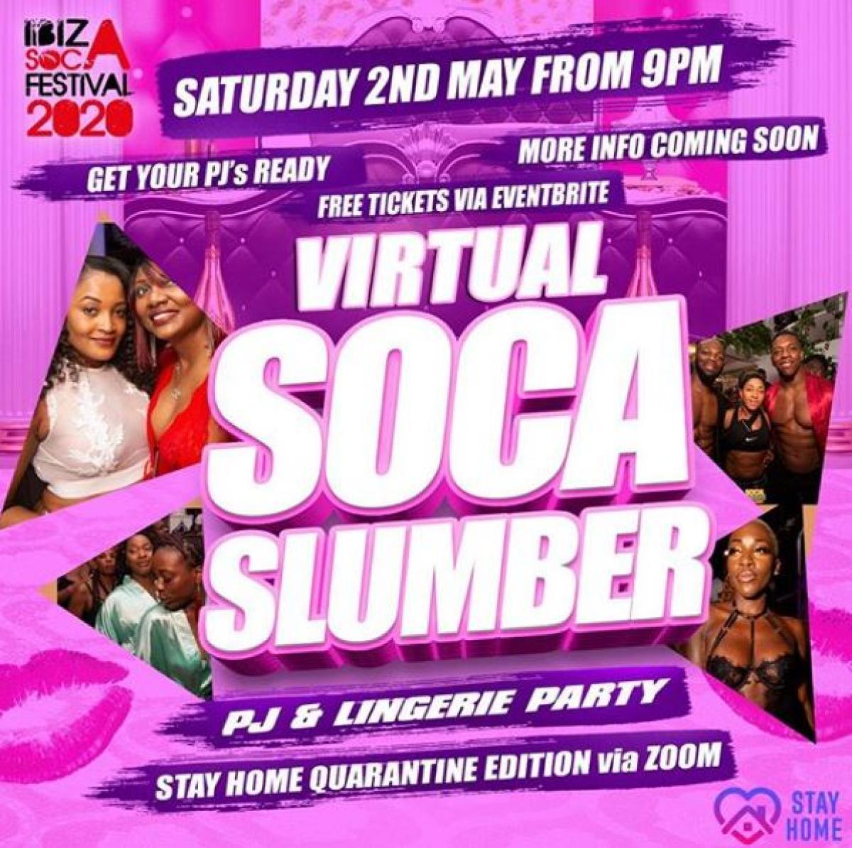 Virtual Soca Slumber Party flyer or graphic.