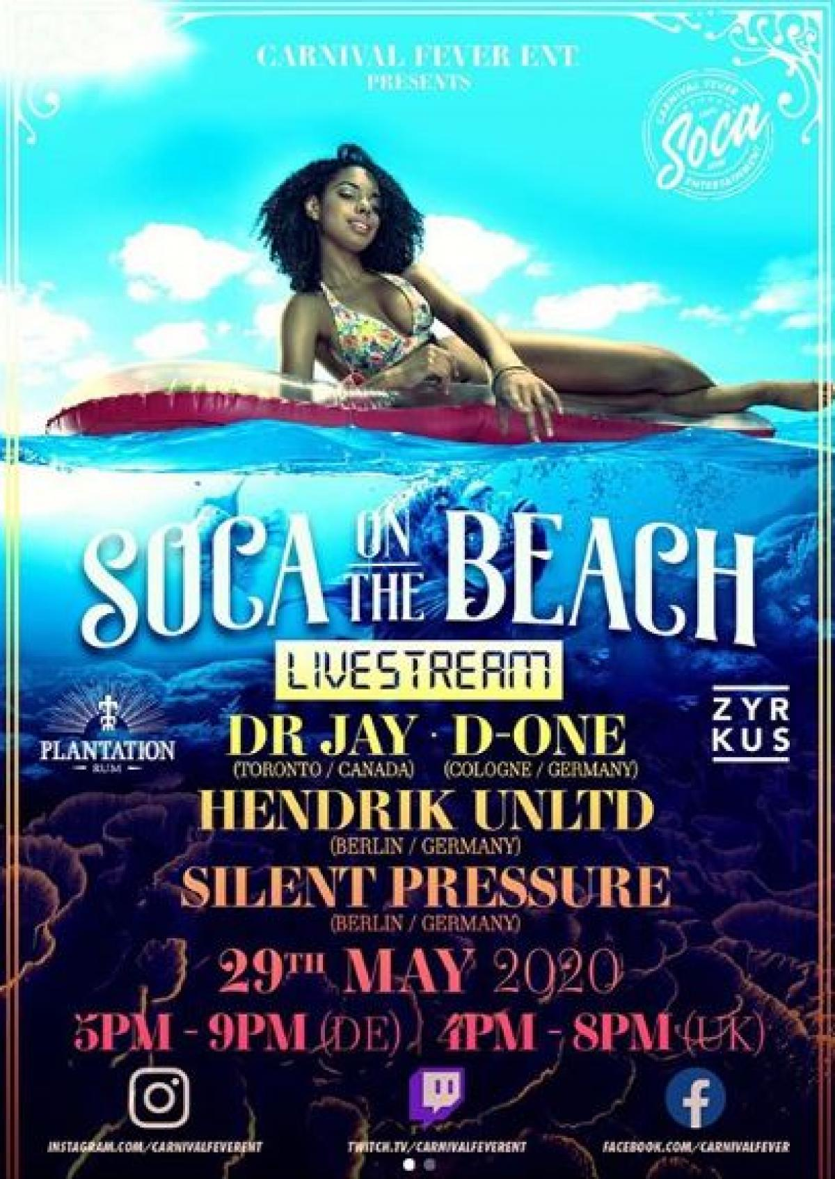 Soca On The Beach flyer or graphic.