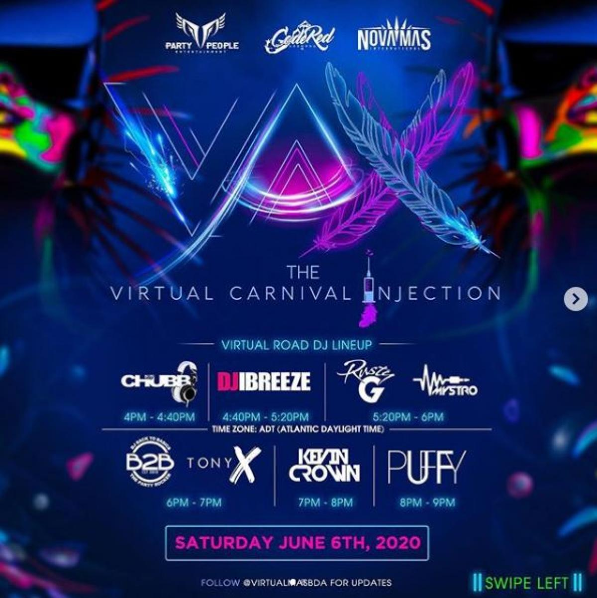 Virtual Carnival Injection flyer or graphic.