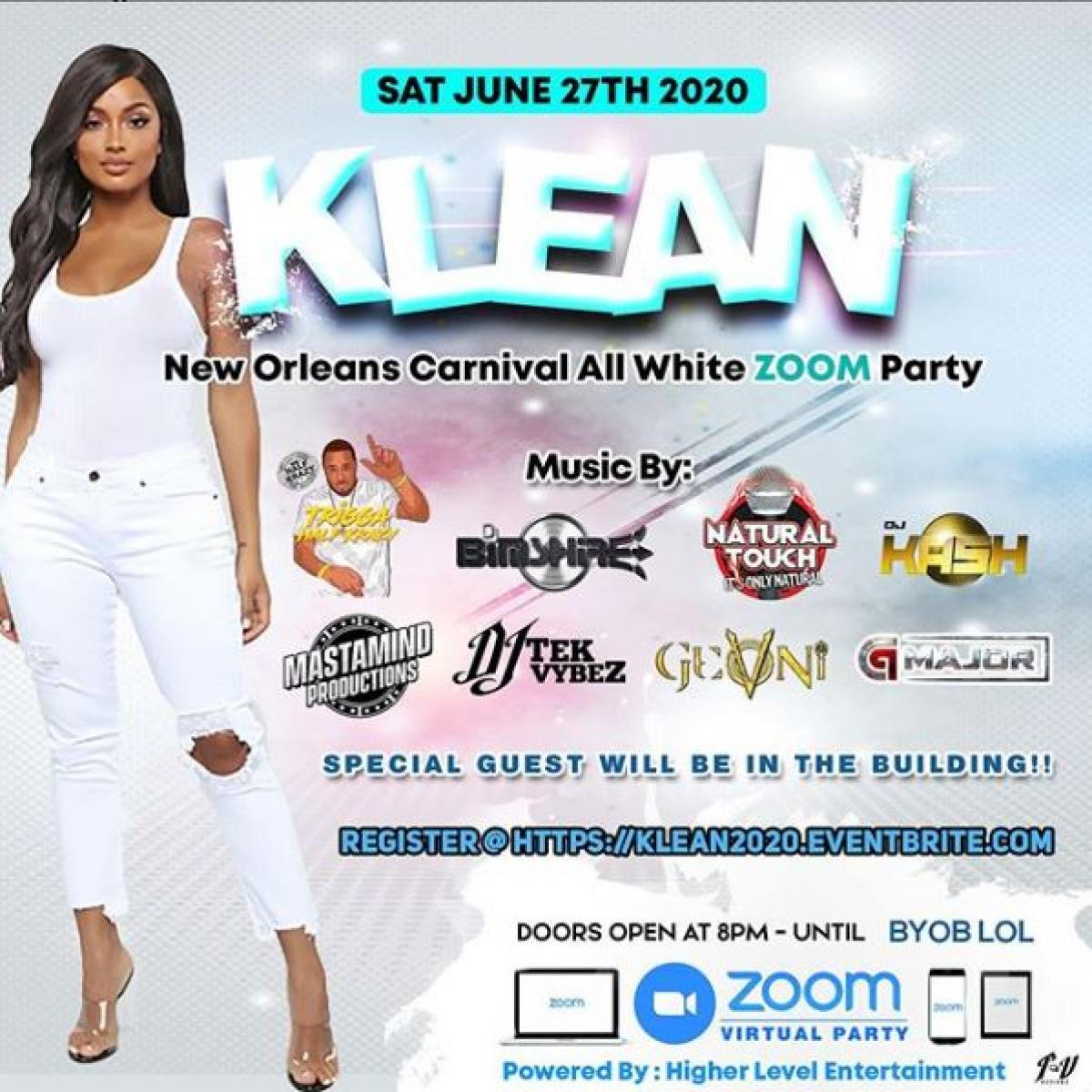 Klean - Nola Caribbean Carnival ''All White '' Virtual Party flyer or graphic.