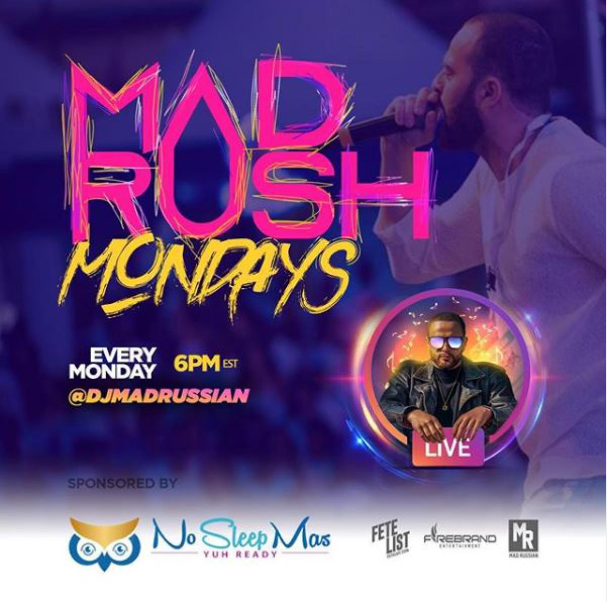 Mad Rush Mondays flyer or graphic.