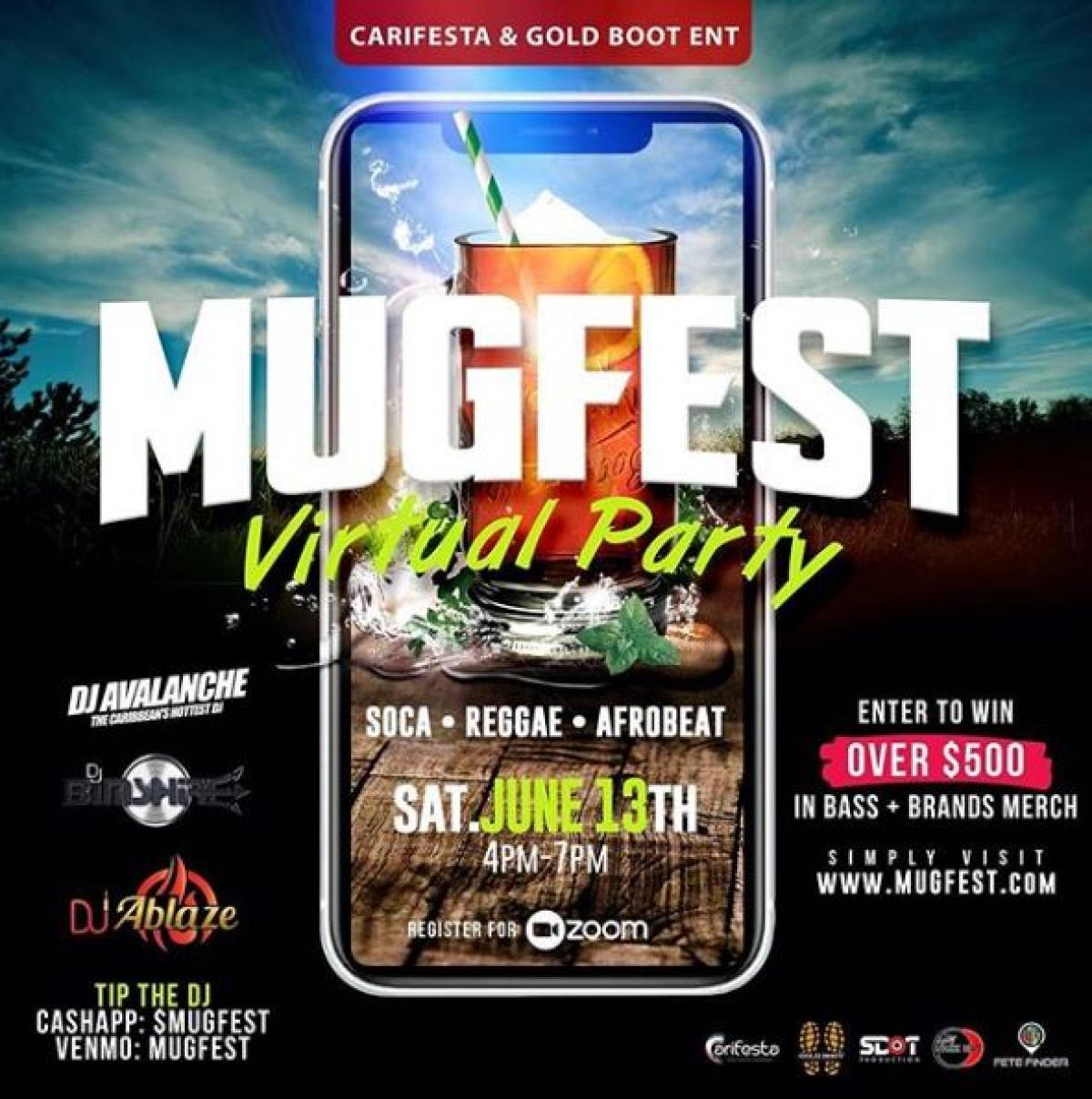 Mug Fest Virtual Party flyer or graphic.