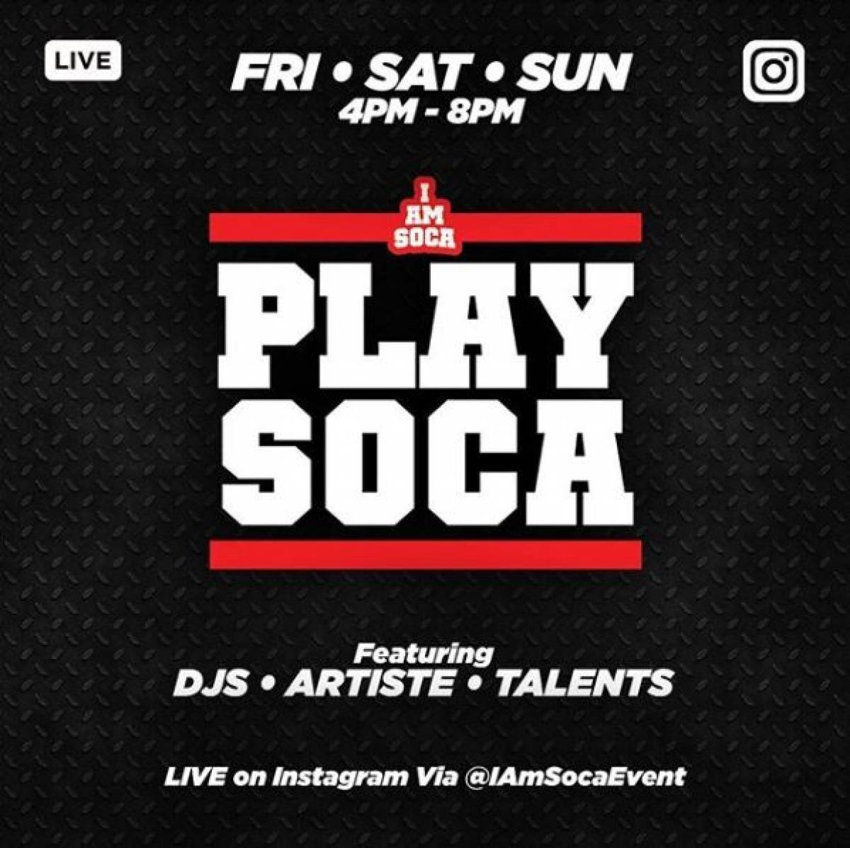 Play Soca   flyer or graphic.