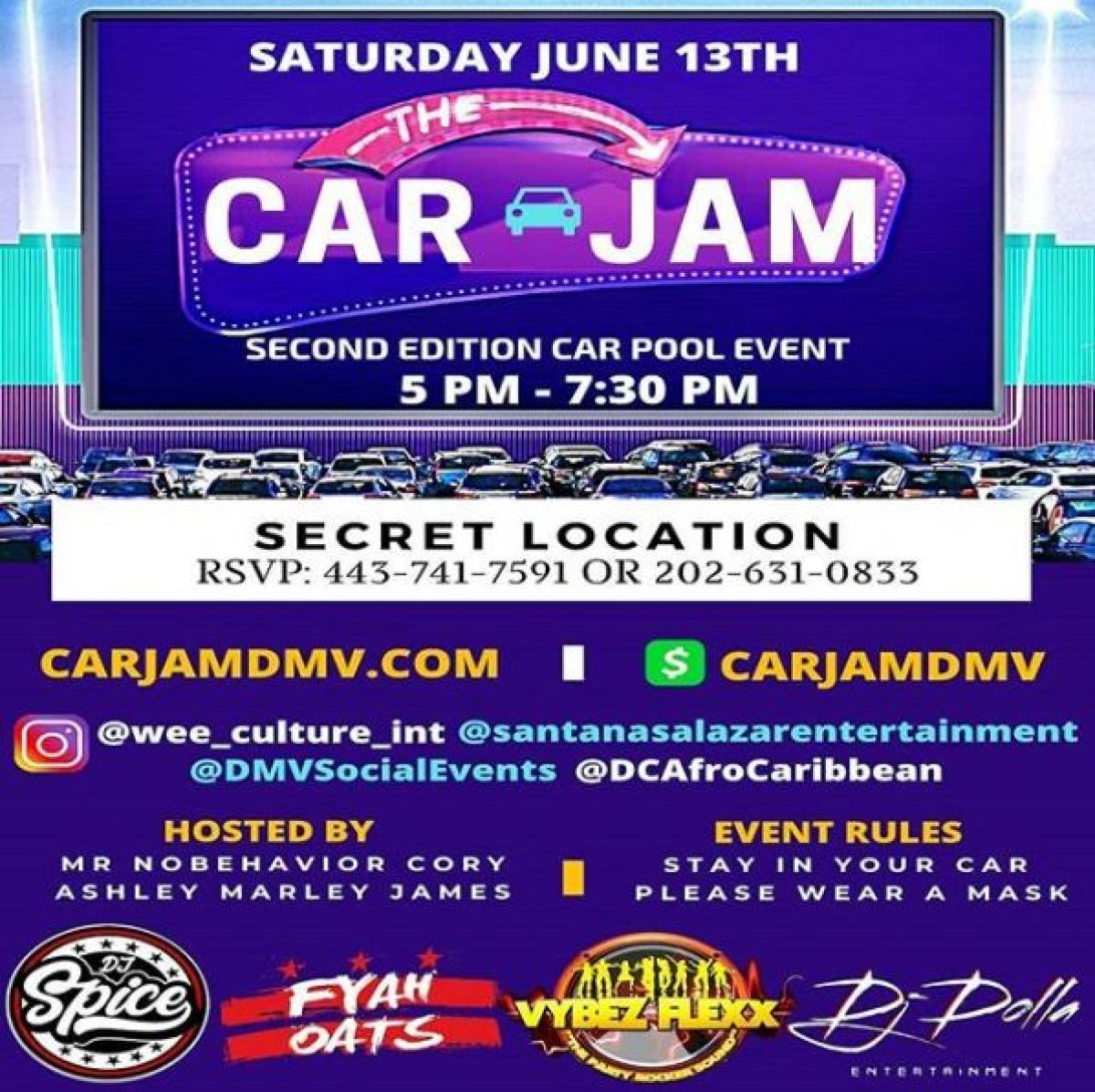Second Edition Car Pool Jam flyer or graphic.