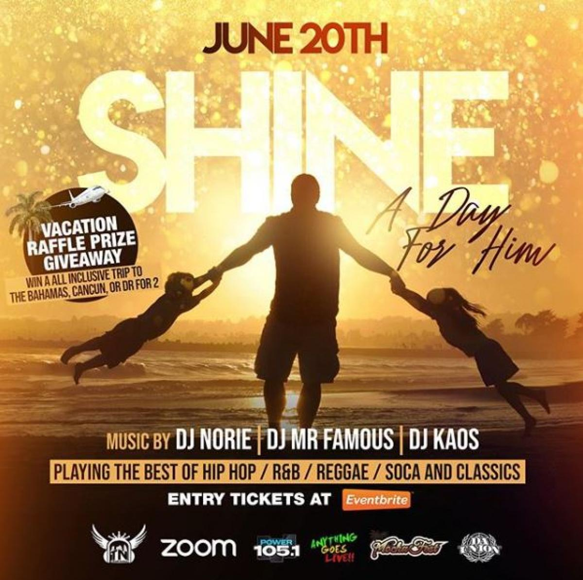 Shine- A Day For Him flyer or graphic.