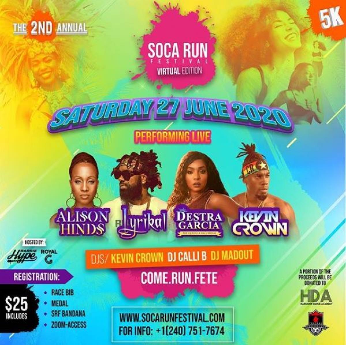 Soca Run Festival flyer or graphic.
