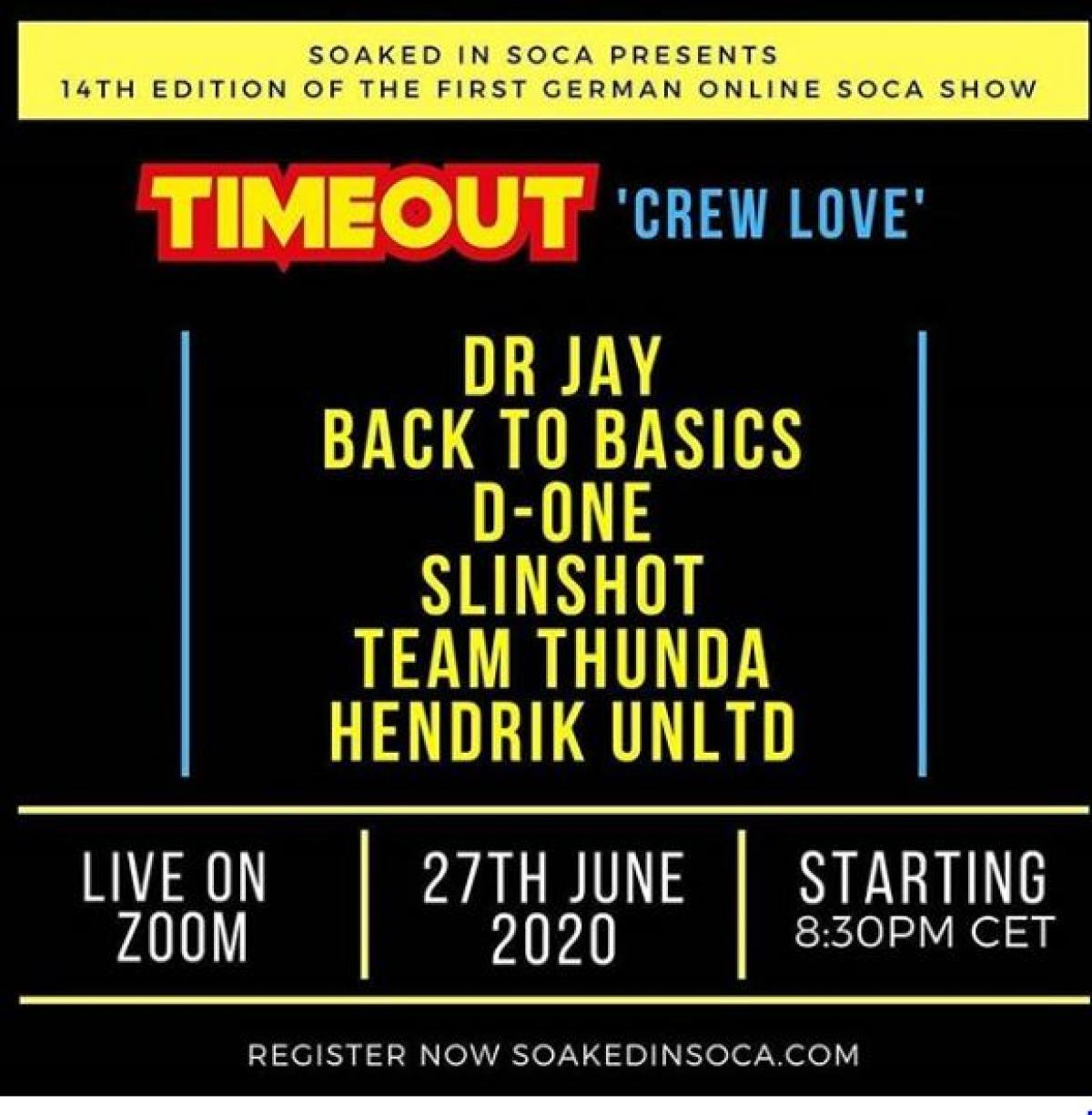 """Timeout """"Crew Love"""" flyer or graphic."""