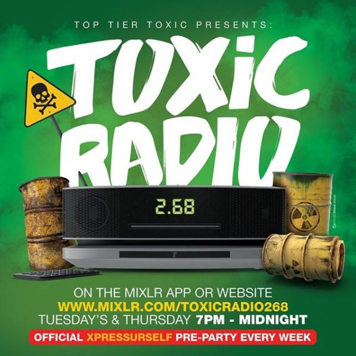 Toxic Radio flyer or graphic.