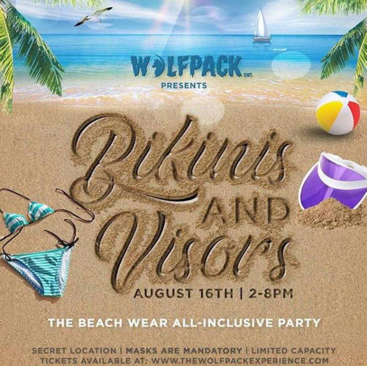 Bikinis & Visors flyer or graphic.