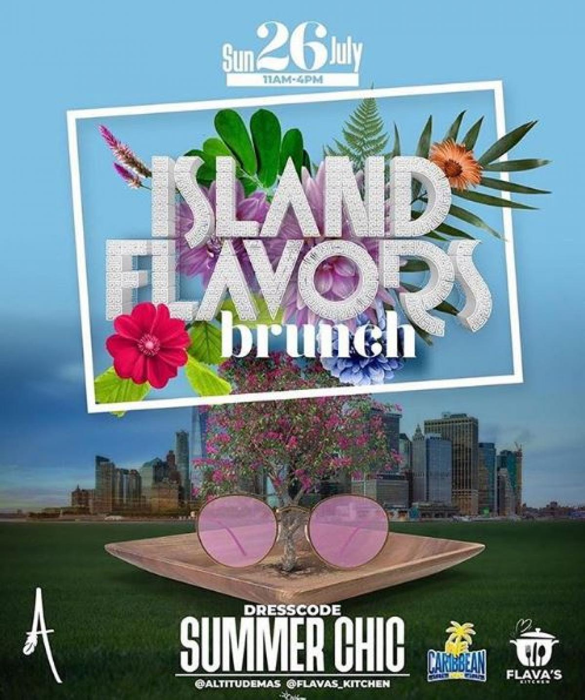 Island Flavors Brunch flyer or graphic.