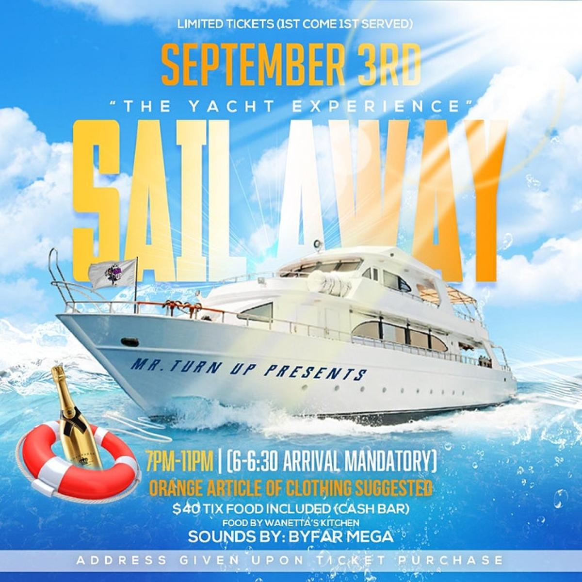 Sail Away flyer or graphic.