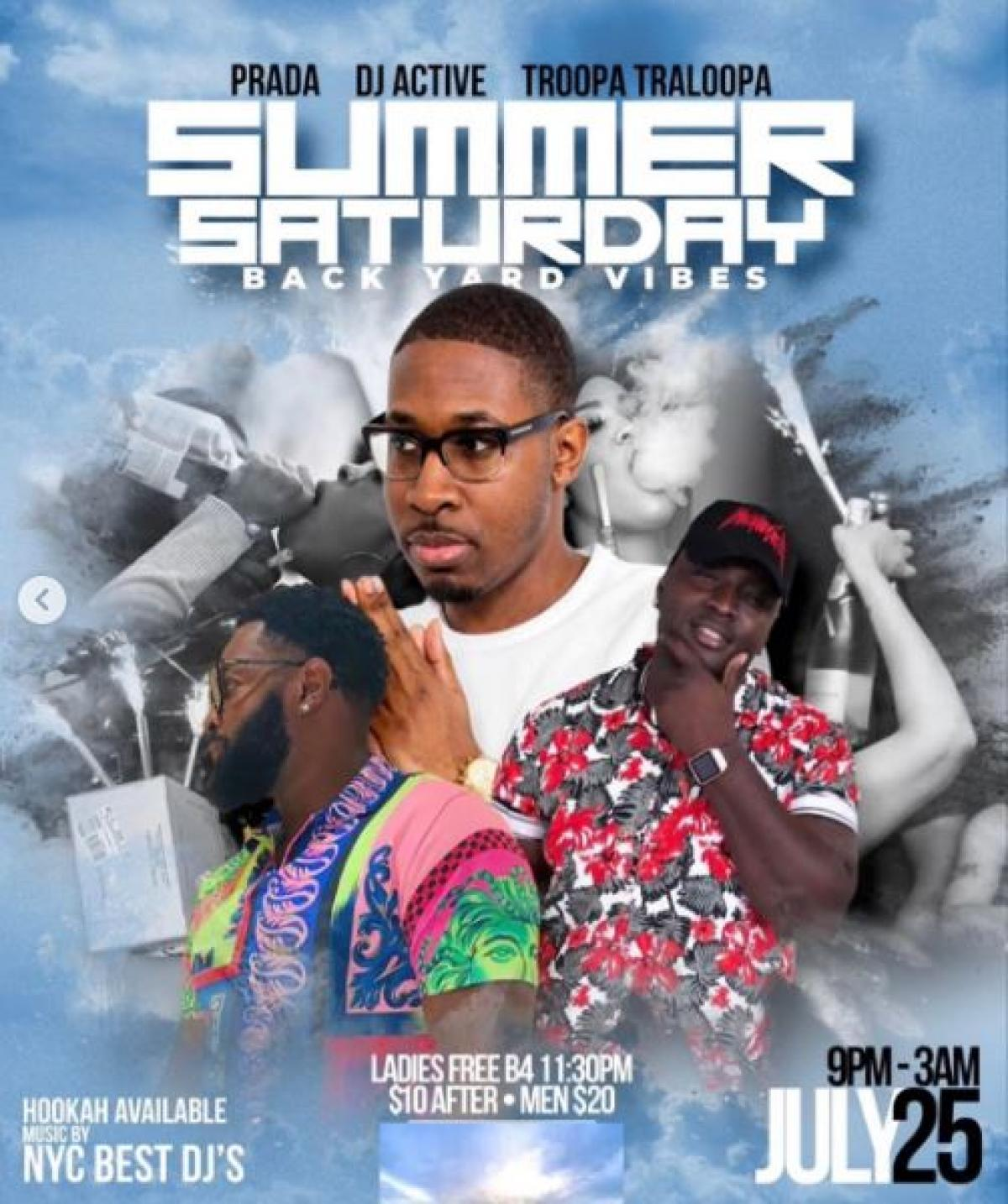 Summer Saturday flyer or graphic.