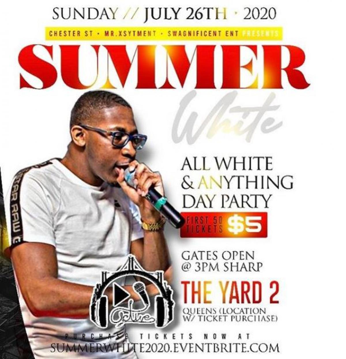 Summer White 2020 flyer or graphic.