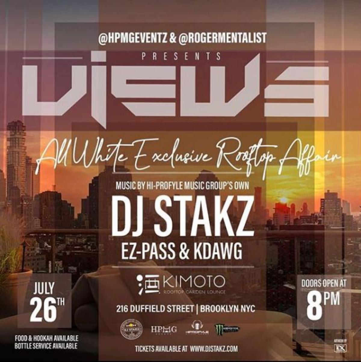 Views All White Rooftop Affair flyer or graphic.