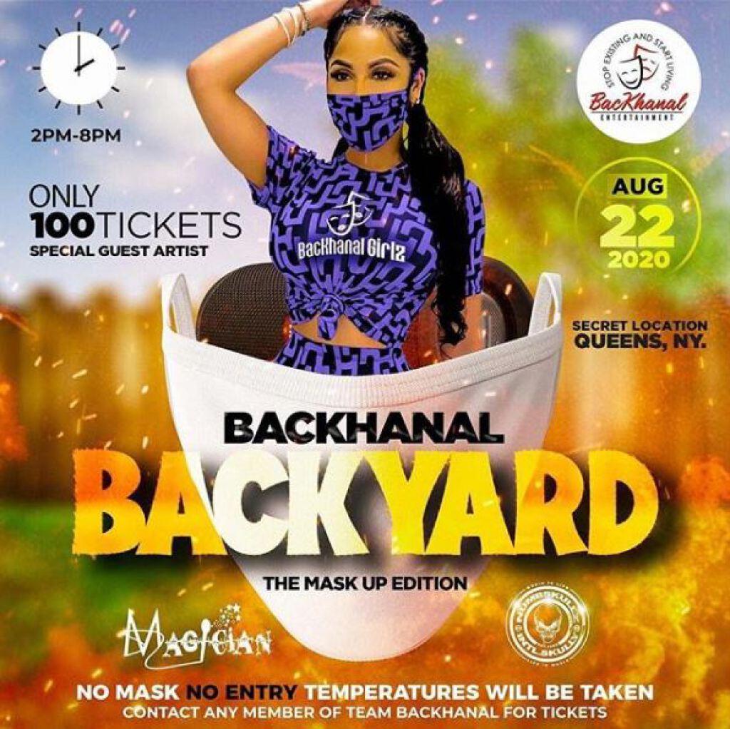 "Backhanal Backyard ""Mask Up Edition"" flyer or graphic."