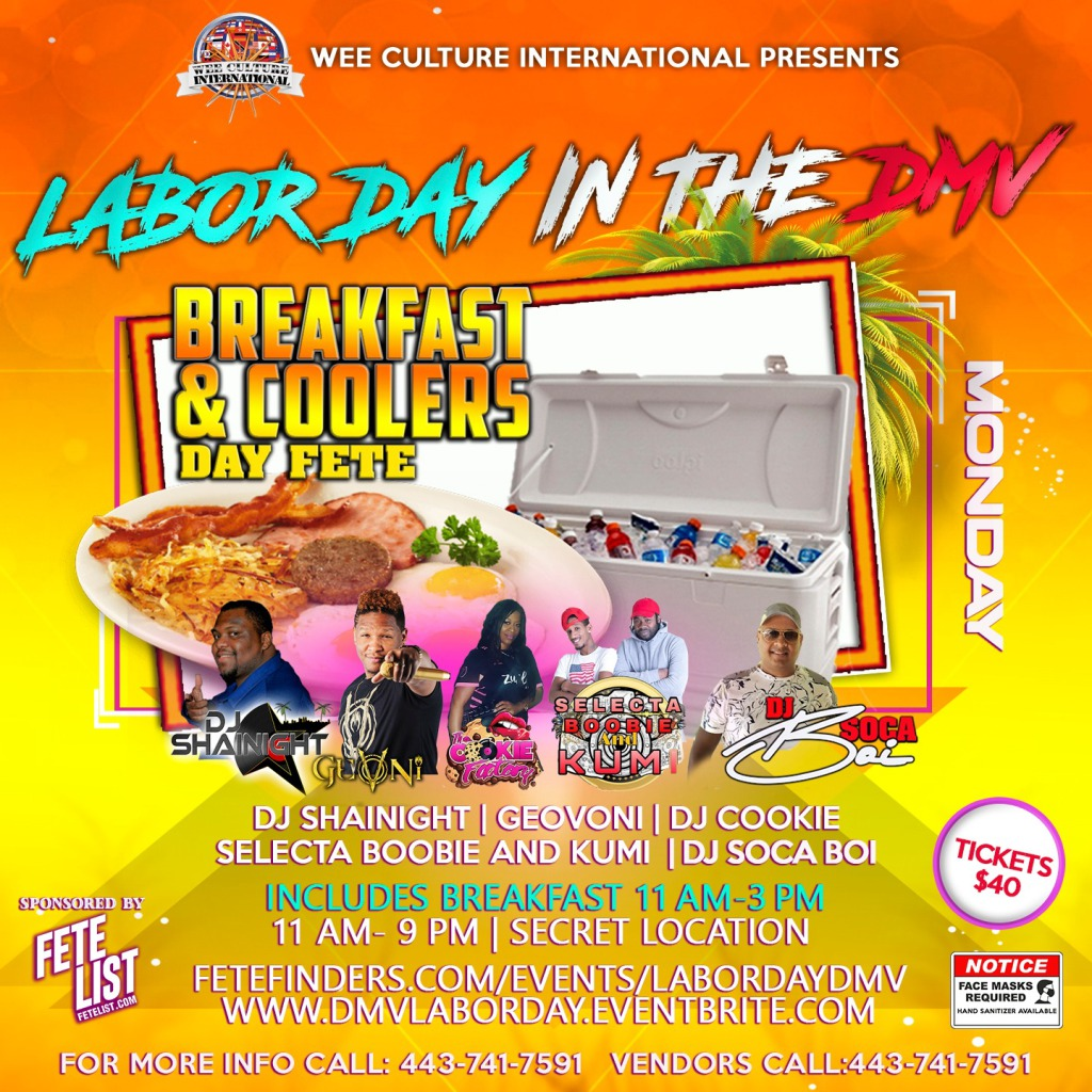Breakfast & Coolers Day Fete flyer or graphic.