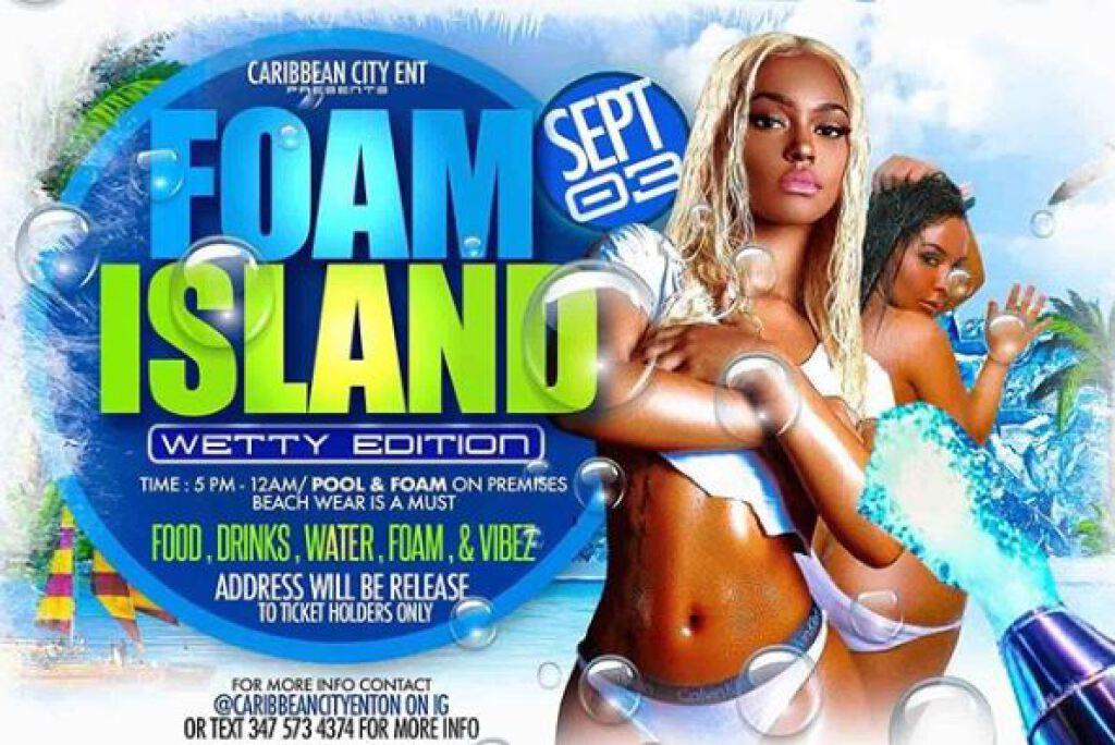 Foam Island Wetty Edition flyer or graphic.