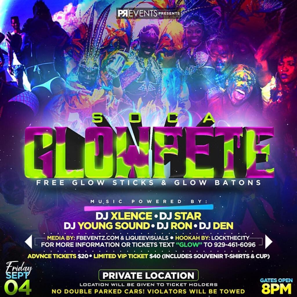 Soca Glow Fete flyer or graphic.