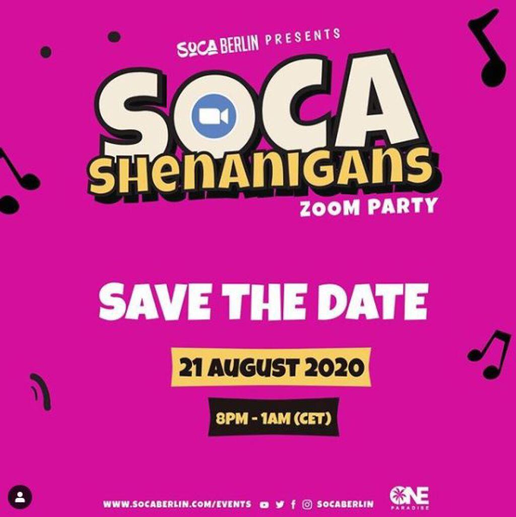 Soca Shenanigans flyer or graphic.