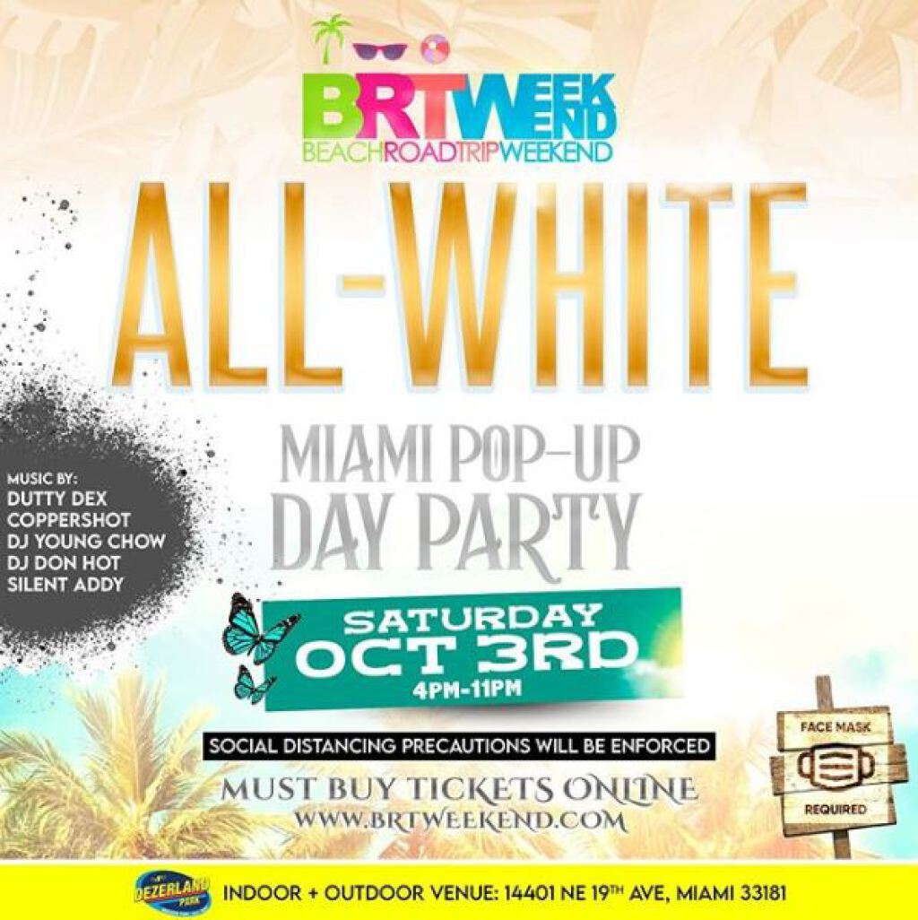 All White: Miami Pop-Up Party flyer or graphic.
