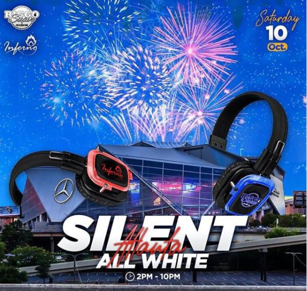 All White Silent Headphones Experience flyer or graphic.