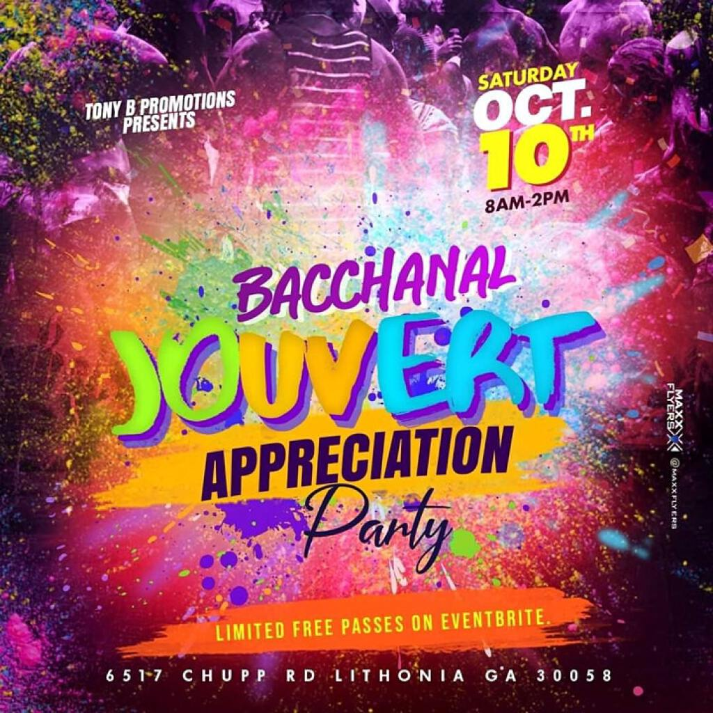 Bacchanal Jouvert flyer or graphic.