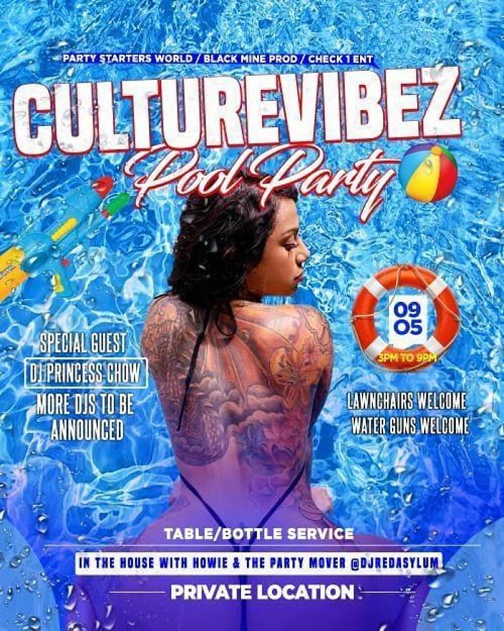 Culture Vibez Pool Party flyer or graphic.