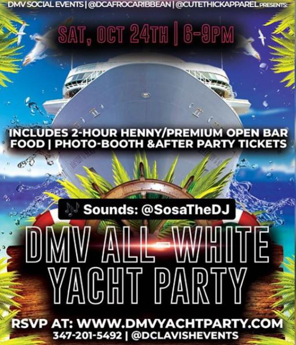 DMV All White Yacht Party flyer or graphic.