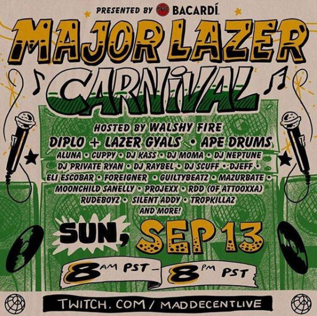 Major Lazer Carnival flyer or graphic.
