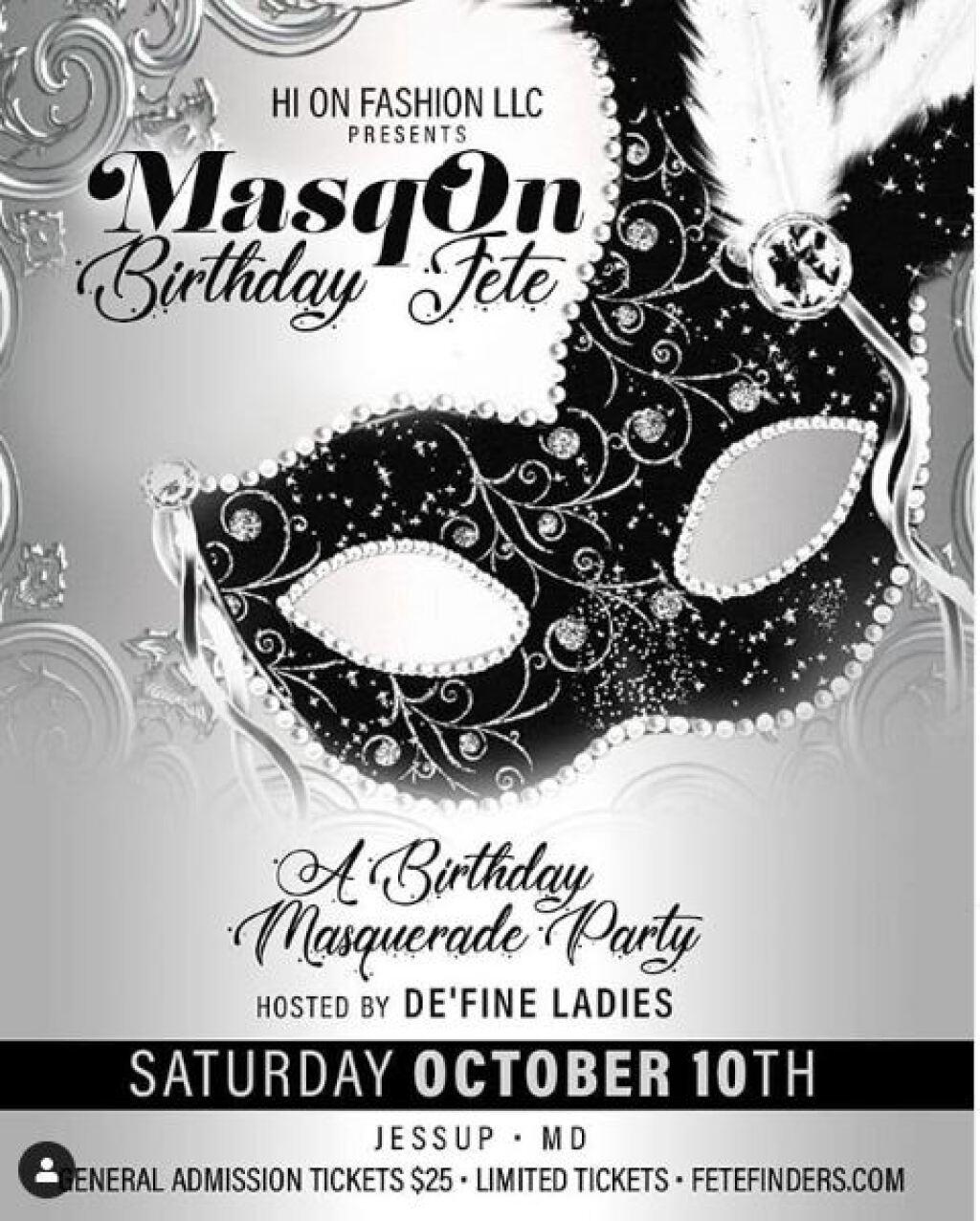 Masq On Birthday Fete flyer or graphic.