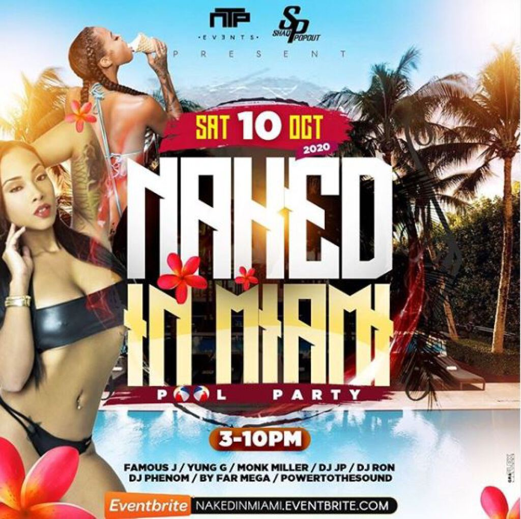 Naked In Miami flyer or graphic.