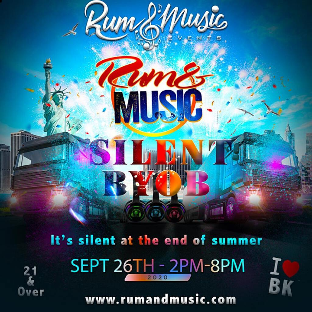 Rum And Music Silent BYOB  flyer or graphic.