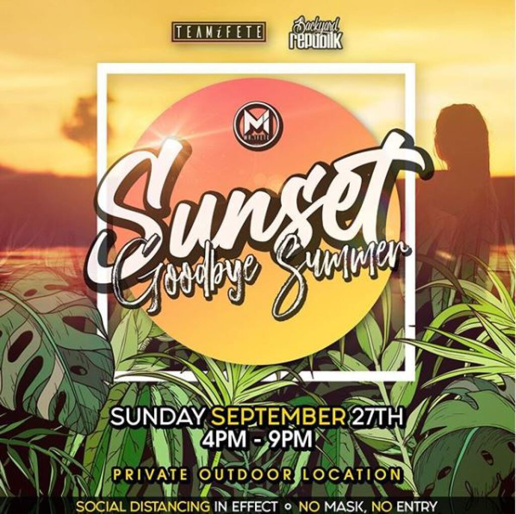 """Sunset 'Goodbye Summer"""" flyer or graphic."""