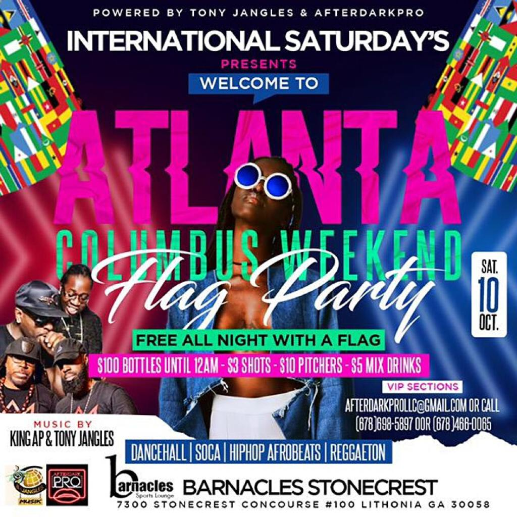 Atlanta Columbus Weekend Flag Party flyer or graphic.